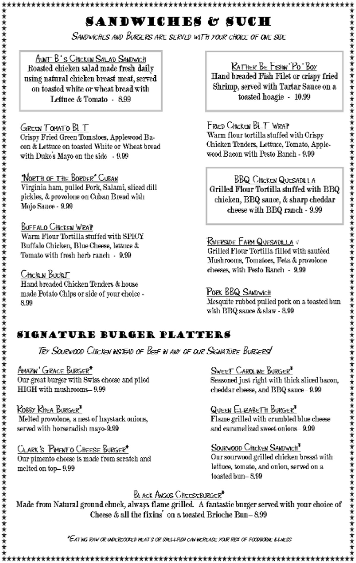 Blue Rooster Southern Grill Menu; Sandwiches, Burgers, Clyde, NC