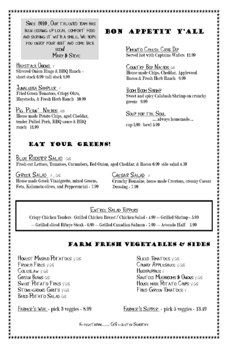 Blue Rooster Southern Grill Menu; Appetizers, Clyde, NC