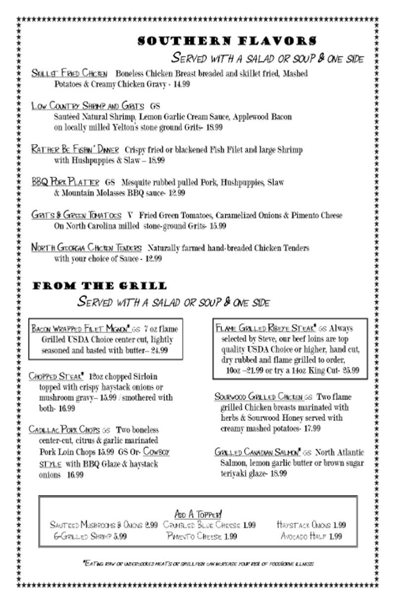 Blue Rooster Southern Grill Menu; Southern Flavors, Clyde, NC