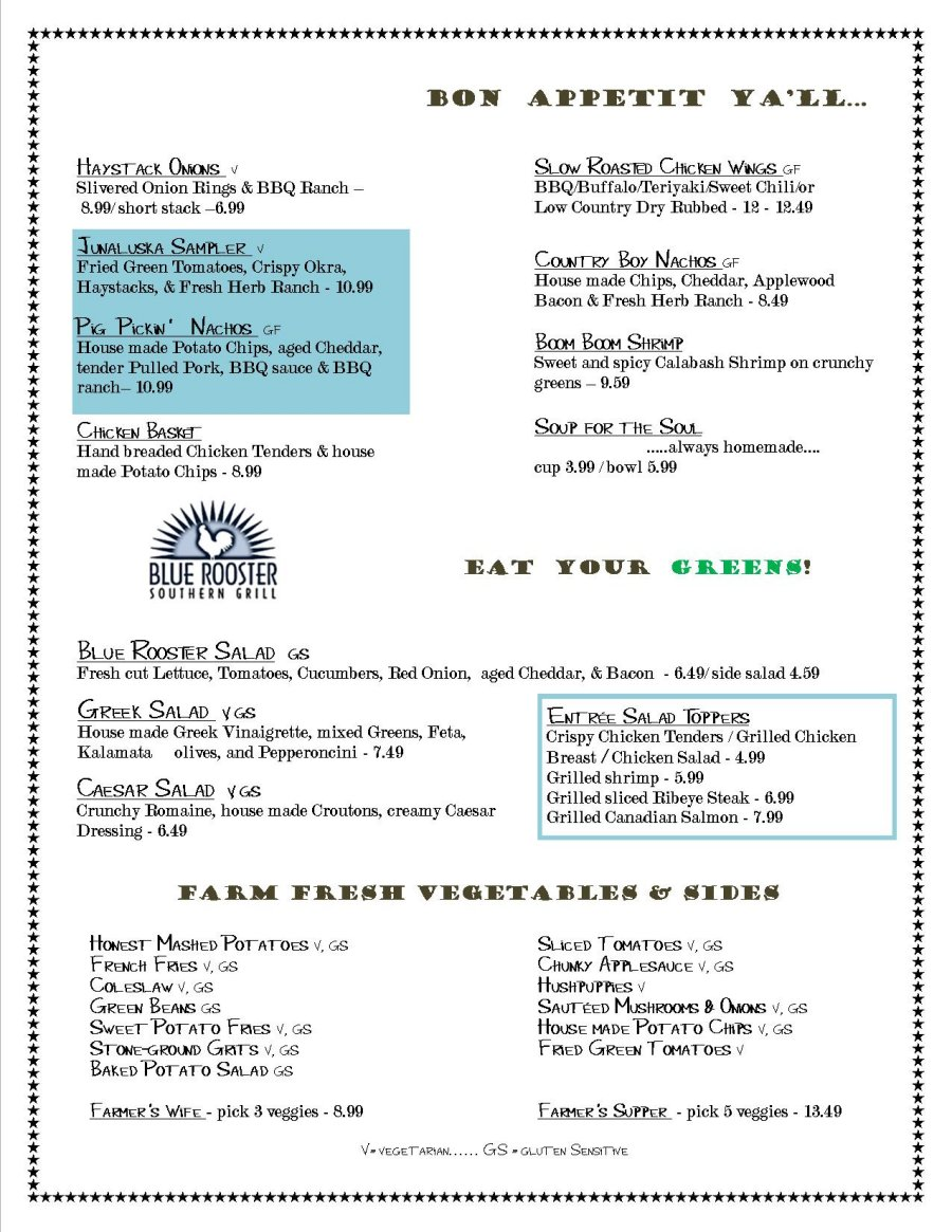 Blue Rooster Southern Grill Menu; Waynesville, NC